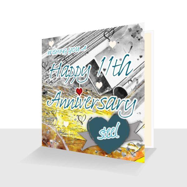 11th Wedding Anniversary Card: Steel Wedding Anniversary : Watercolour Design