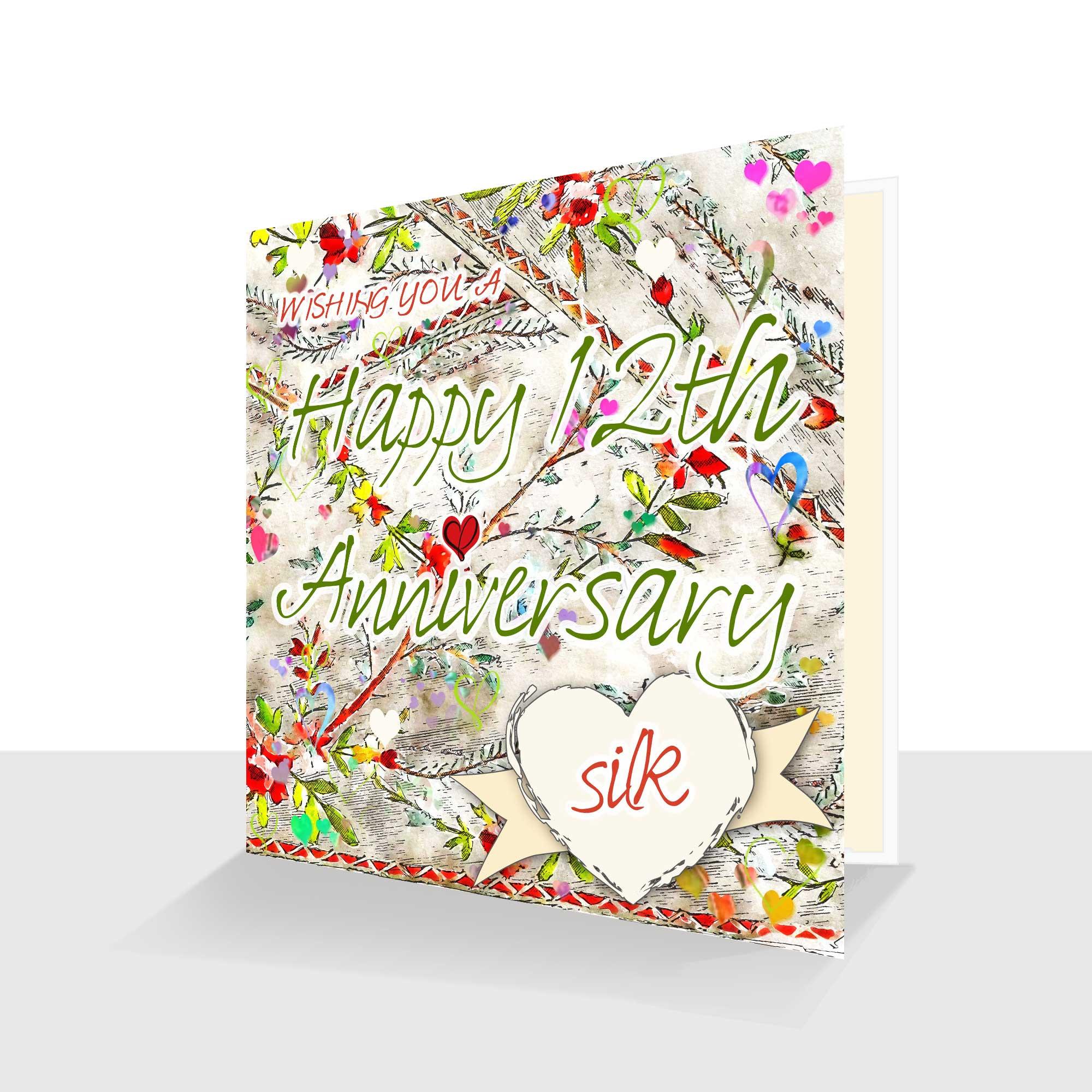 12th Wedding Anniversary Card: Silk Wedding Anniversary : Watercolour Design