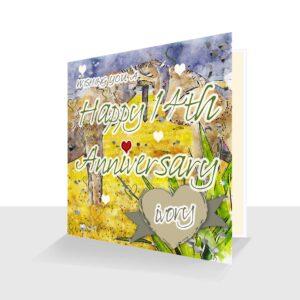 14th Wedding Anniversary Card: Ivory Wedding Anniversary : Watercolour Design