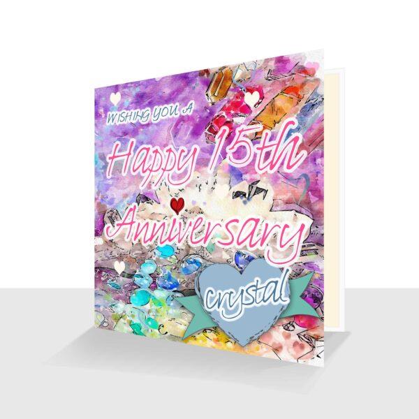 15th Wedding Anniversary Card: Crystal Wedding Anniversary : Watercolour Design