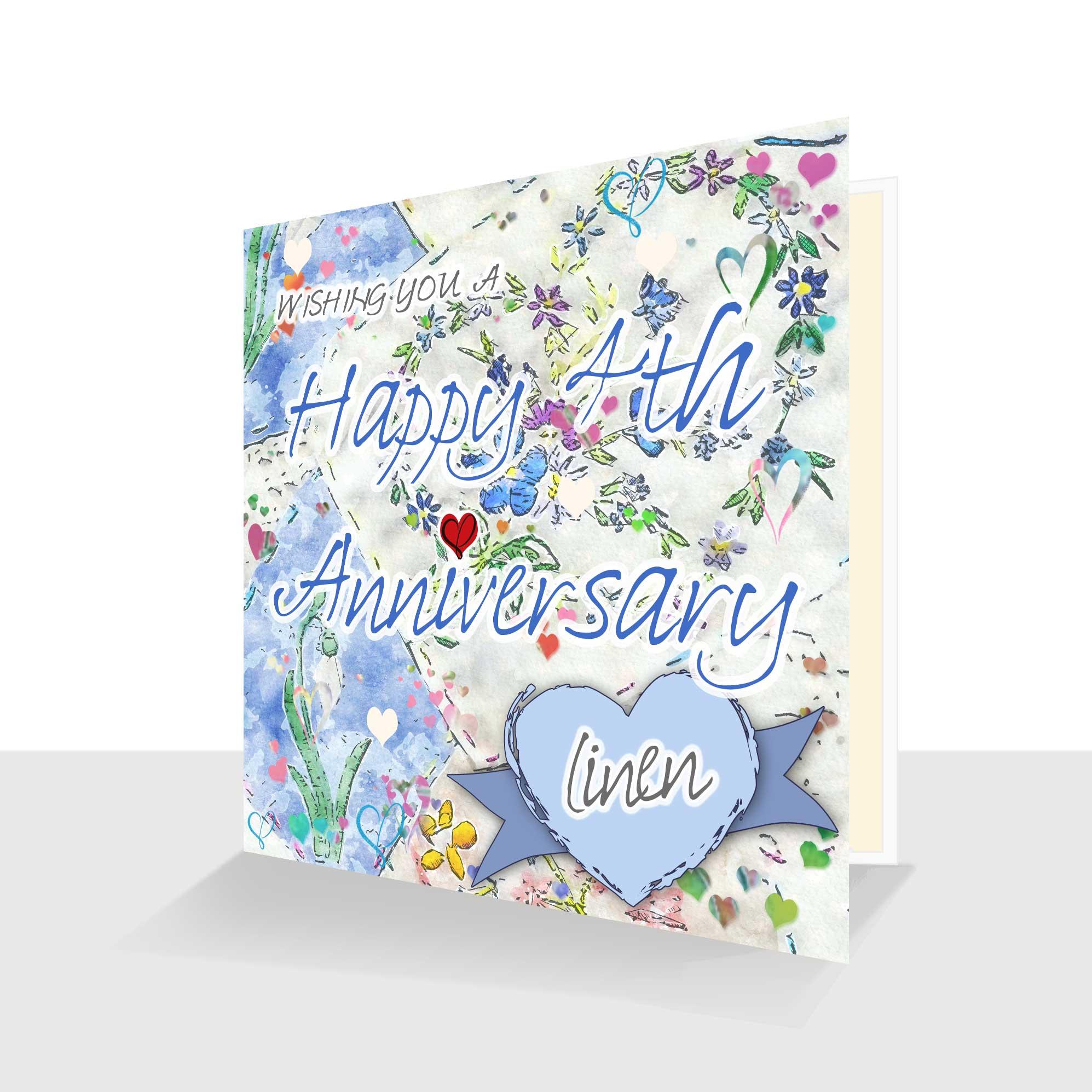 4th Wedding Anniversary Card: Linen Wedding Anniversary