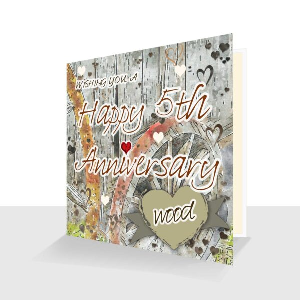 5th Wedding Anniversary Card: Wood Wedding Anniversary