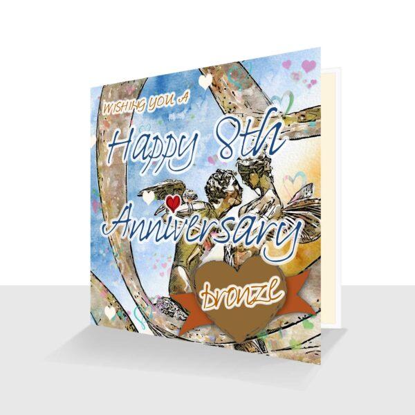 8th Wedding Anniversary Card: Bronze Wedding Anniversary : Watercolour Design