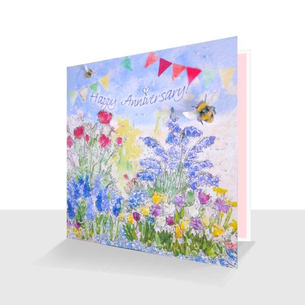 Happy Anniversary Card Garden Flowers
