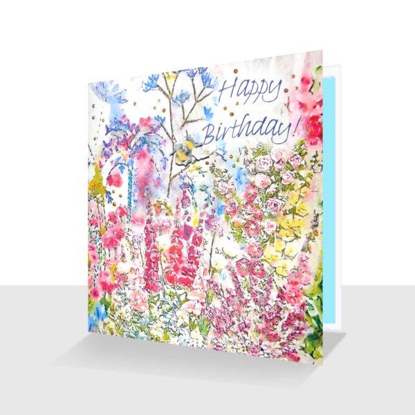 Garden Birthday Day Card Happy Birthday Cottage Garden with Bee