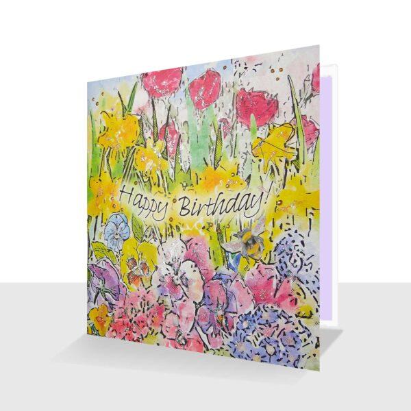 Spring Birthday Day Card Happy Birthday Spring Garden with Bee