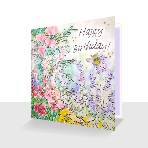 Summer Birthday Day Card Happy Birthday Summer Garden with Bee