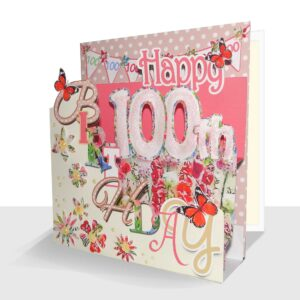 Pop Up 100th Birthday Card - Luxury 3D Handmade Pink Floral