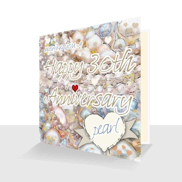 30th Wedding Anniversary Card : Pearl Wedding Anniversary : Watercolour Design