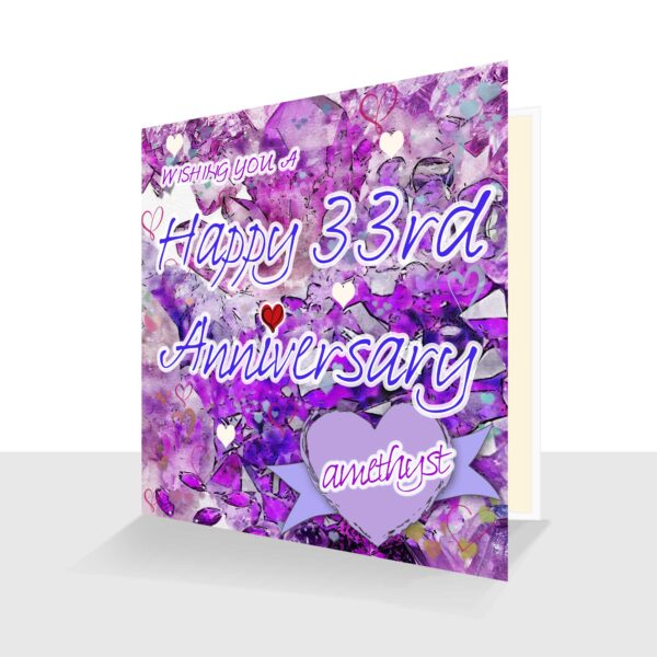 33rd Wedding Anniversary Card : Amethyst Wedding Anniversary : Watercolour Design