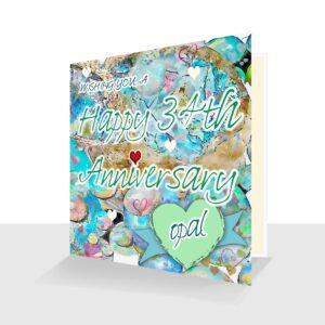 34th Wedding Anniversary Card : Opal Wedding Anniversary : Watercolour Design