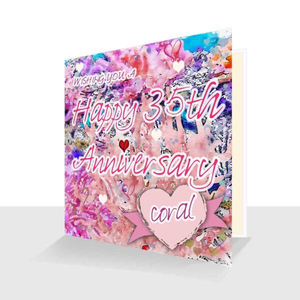 35th Wedding Anniversary Card : Coral Wedding Anniversary : Watercolour Design