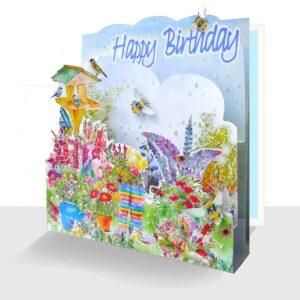 Garden Happy Birthday Card 3d - Pop up Summer Card