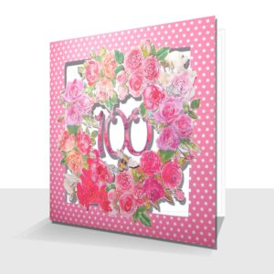 Roses 100th Birthday Card : Laser Cut Pink Roses