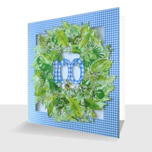 Leaves 100th Birthday Card : Laser Cut
