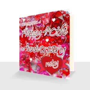 40th Wedding Anniversary Card : Ruby Wedding Anniversary : Watercolour Design