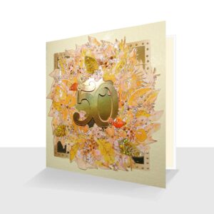 "A 50th Greeting Card ideal for anyone celebrating a 50th occasion. The design of rich golds 50  in a leaf watercolour design with shiny metallic gold background and a raised number 50. Hand finished with lots of added sparkle, and shiny gold leaves and gold pearl effect, these greetings cards are mounted on to a quality cream textured (FSC rated card stock). They are left blank for special messages and supplied with a white envelope and protected in a clear film sleeve. A lovely large size approx. 15cm x 15cm (5 3/4"" x 5 3/4"") 50th Anniversary Card - 50th Birthday Card - or Celebrating 50 years!"
