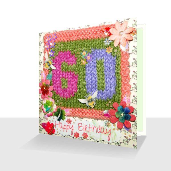 Happy 60th Birthday Card - Pretty Mixed Media with Bees