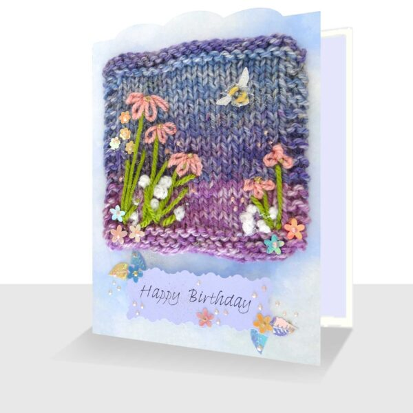Mixed Media Birthday Card 5 x 7 Pink Flowers