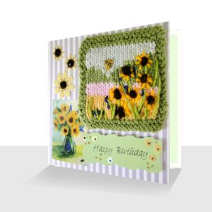 Happy Birthday Mixed Media Card - Sunflowers with Bee