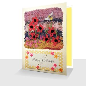 Mixed Media Birthday Card 5 x 7 Red Rudbeckia