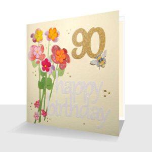 Pretty 90th Birthday Card : Bunch of Flowers