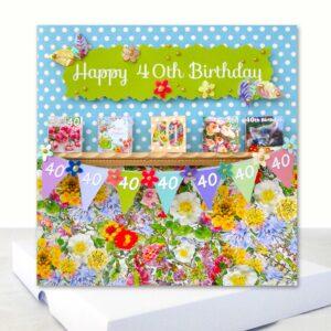 Luxury Happy 40th Birthday 3d Boxed Card Unique