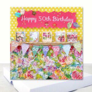 Luxury Happy 50th Birthday Boxed Card Extra 6 x 6