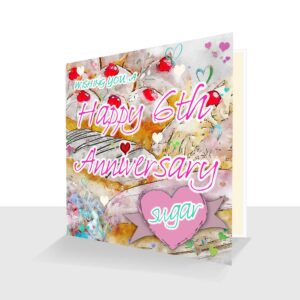 6th Wedding Anniversary Card: Sugar Wedding Anniversary : Watercolour Design