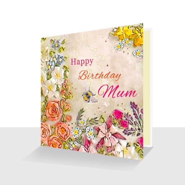 Happy Birthday Mum Card Pink