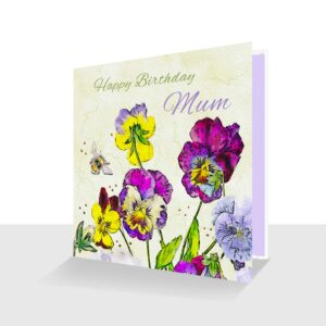 Happy Birthday Mum Card Pansies and Bee