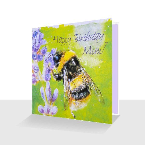 Happy Birthday Mum Card Bee on Lavender watercolour