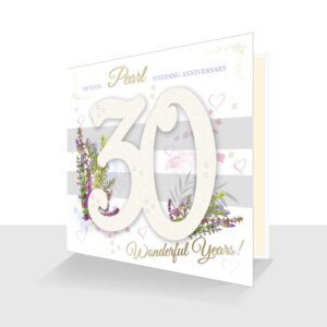 30th Wedding Anniversary Card : Pearl Wedding Anniversary : Sparkle and Pearl