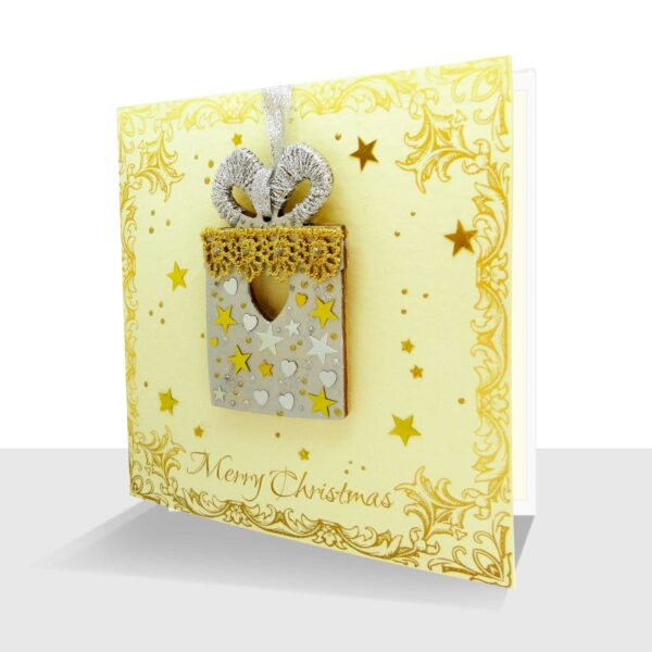 Luxury Handmade Xmas Card with Tree Decoration : Christmas Card with Detachable Ornament