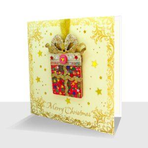 Luxury Handmade Christmas Card with Detachable Present Ornament