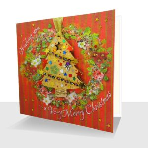 Luxury Handmade Xmas Card with Tree Decoration : Christmas Card with Ornament